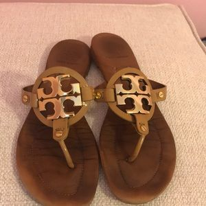 Tory Burch Logo Brown Gold Sandals Size 9.5